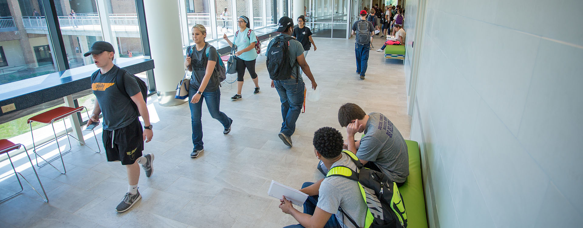 students walking in SRB building