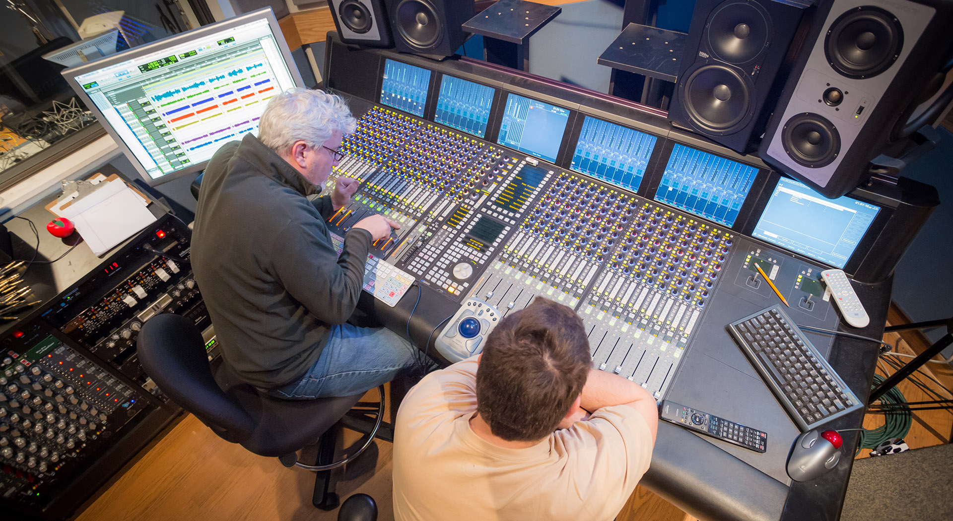 two people working in a recording studio