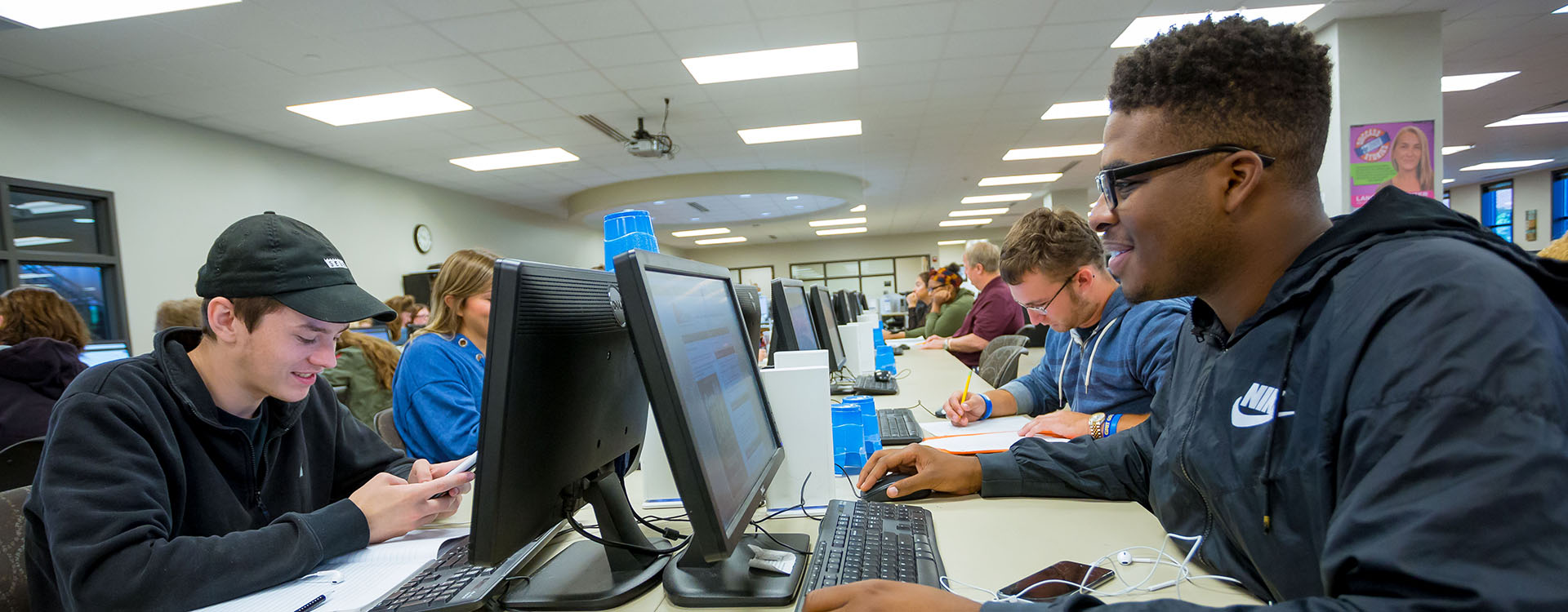 students using computers in the Learning Commons