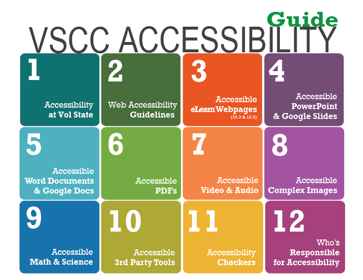 Front of the print version of VSCC Accessibility Guide