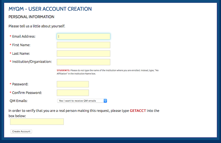 screenshot of account creation page