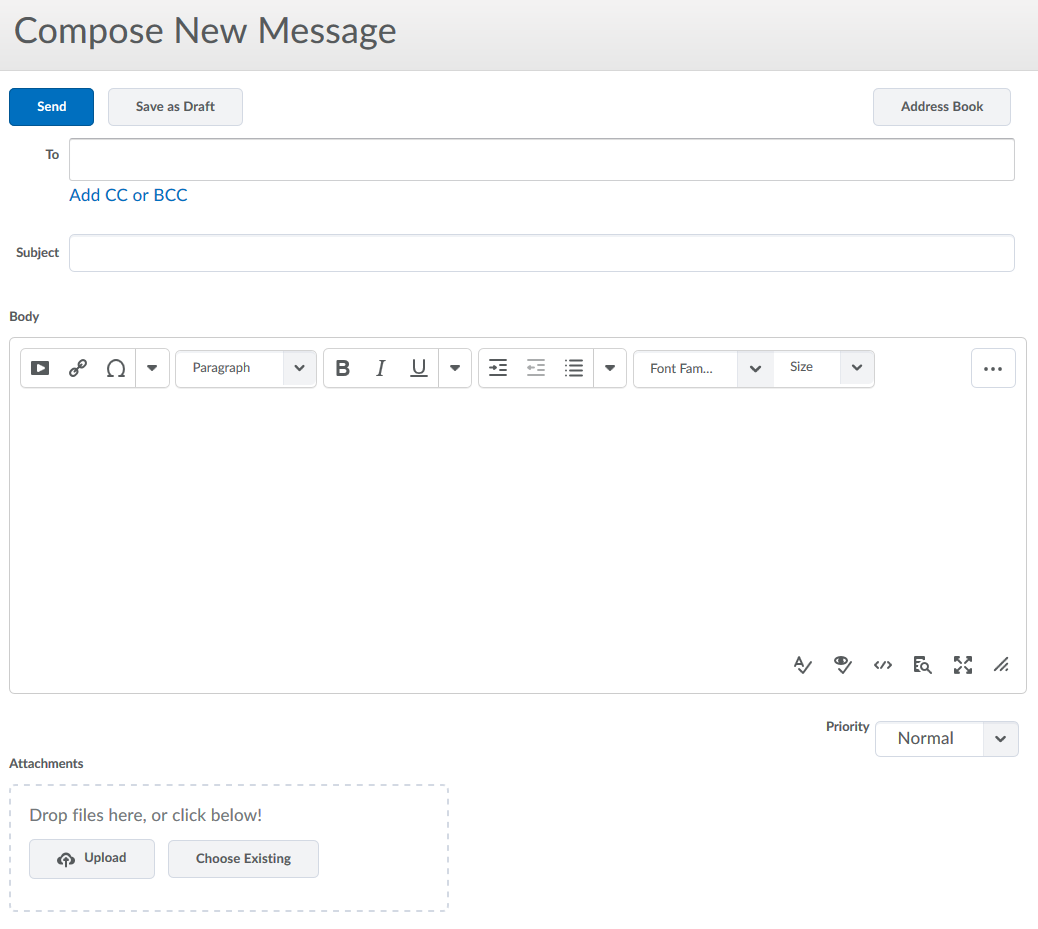 Screenshot of Compose New Message screen.