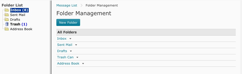 screenshot of the folder management screen in Course Mail.
