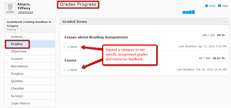 Picture is a sample image of the User Progress tool in eLearn. It shows the student assignments, grade earned, and sample feedback.