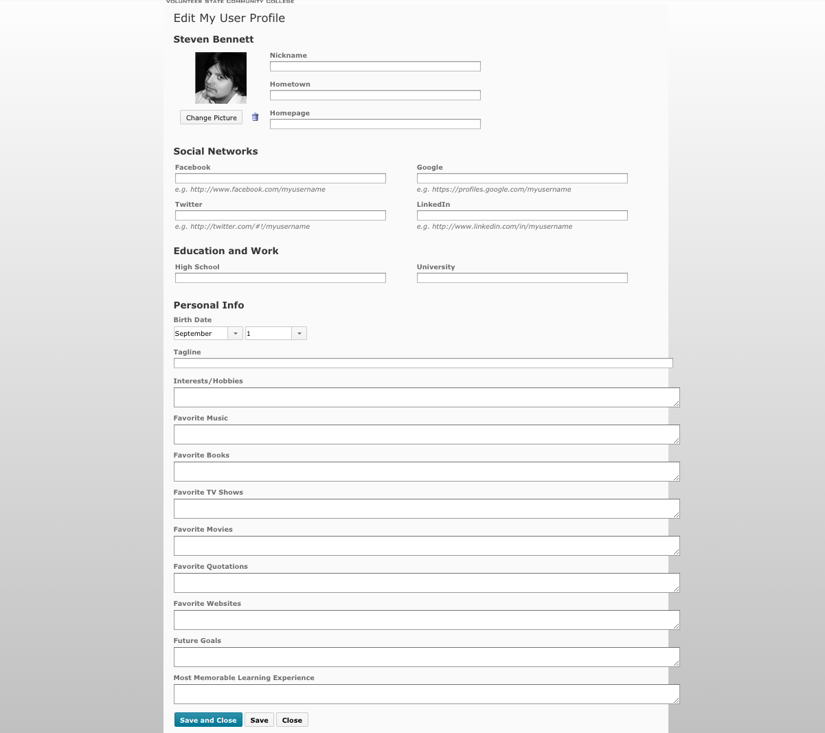 This is the Edit Profile screen in eLearn