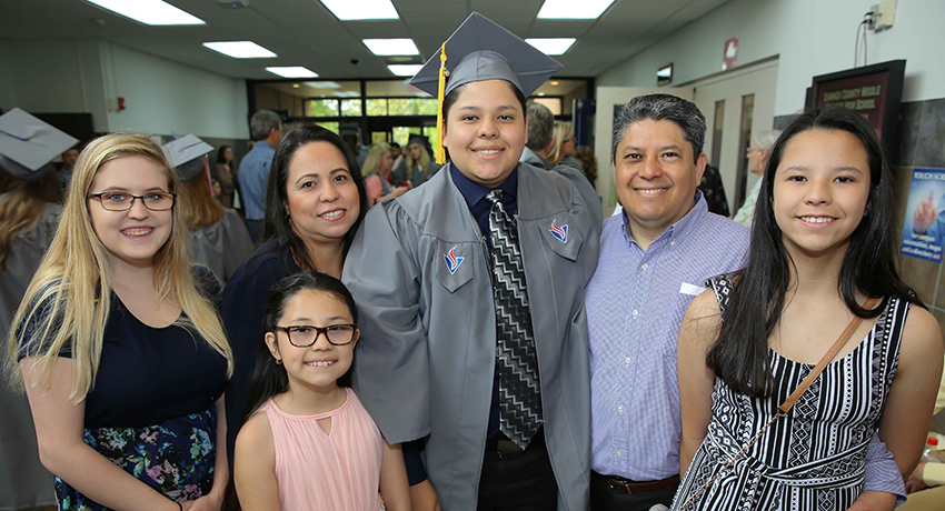 Isaac Ramirez is a Sumner County Middle College High School student and Vol State graduate, shown here with his family.