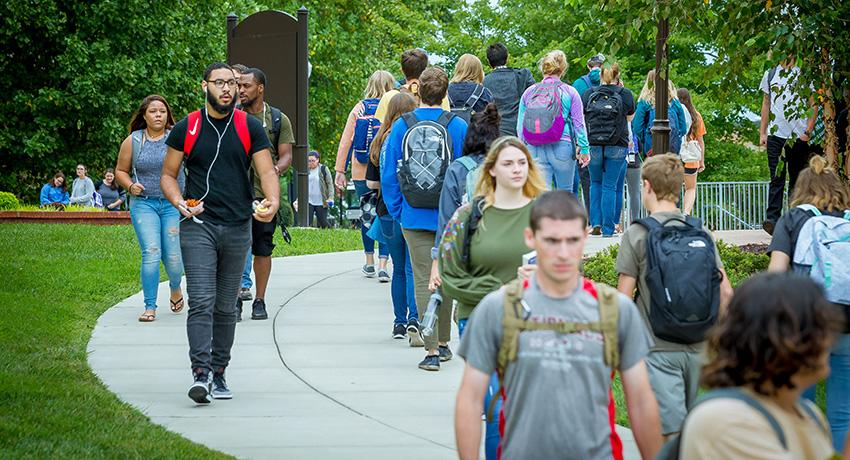 Students walk on the Vol State campus in Gallatin