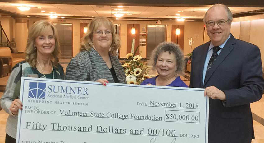 Pictured left to right: Karen Mitchell, executive director of the College Foundation; Susan Peach, market president, HighPoint Health System, and chief executive officer, Sumner Regional Medical Center; Linda Gibson, Vol State dean of Nursing; and Jerry Faulkner, Vol State president.