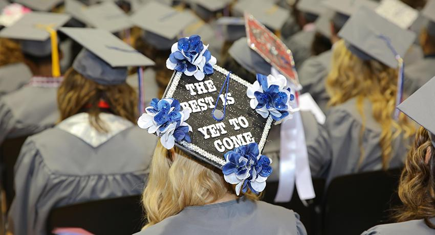 Cap that says the best is yet to come at Vol State graduation ceremony