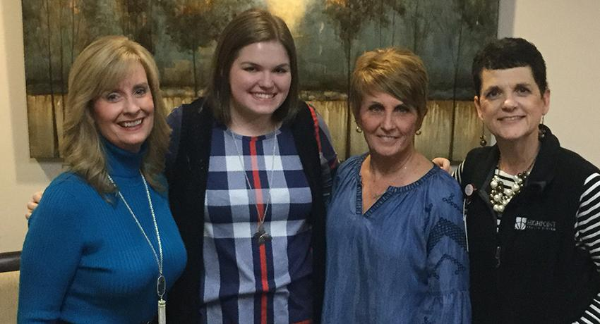 Karen Mitchell, executive director for the Volunteer State College Foundation; Amanda Talbot, the 2018-2019 scholarship recipient; Loretta Visser, president of the Friends of SRMC Board; and Lori Johnson, director of Volunteer Services for SRMC.