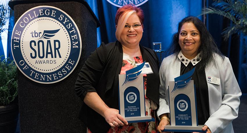 Pictured: TCAT Faculty Member of the Year, Rebecca Russell of Knoxville; and Vol State professor, Girija Shinde, Community College Faculty Member of the Year.