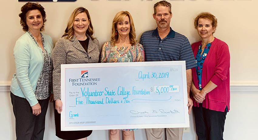 The First Horizon Foundation recently made a $5000 donation to the Volunteer State College Foundation