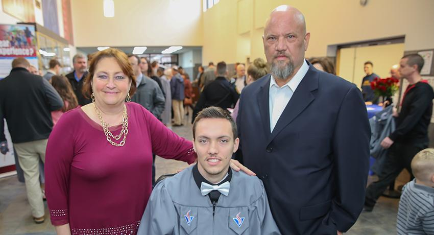 Austin Bonebrake was honored as Outstanding Fall Graduate. Shown here with his family, left to right: Thomas, Austin, and Patty Bonebrake.