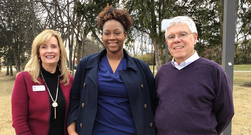 Pictured left to right: Karen Mitchell, vice president for Resource Development; LaTisha Hill; and Bill Hudgins, scholarship donor.