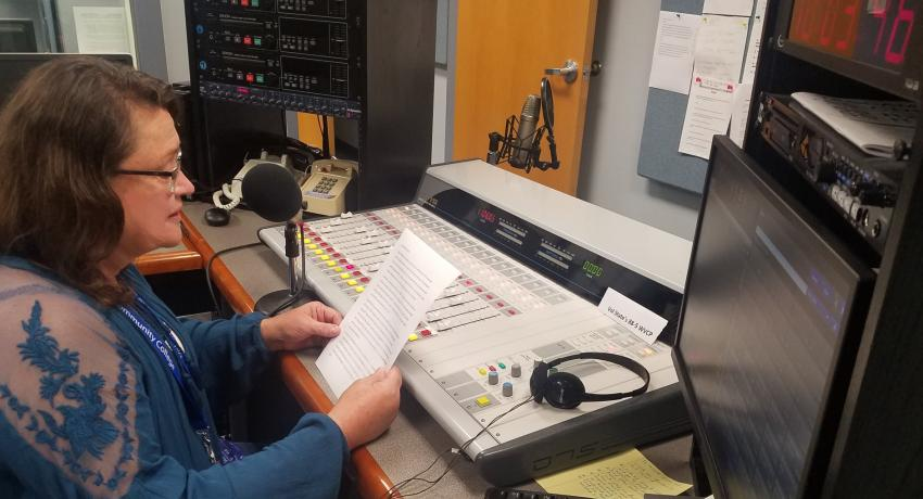 Vol State student Katie Burke in the WVCP-FM studios on the campus in Gallatin.