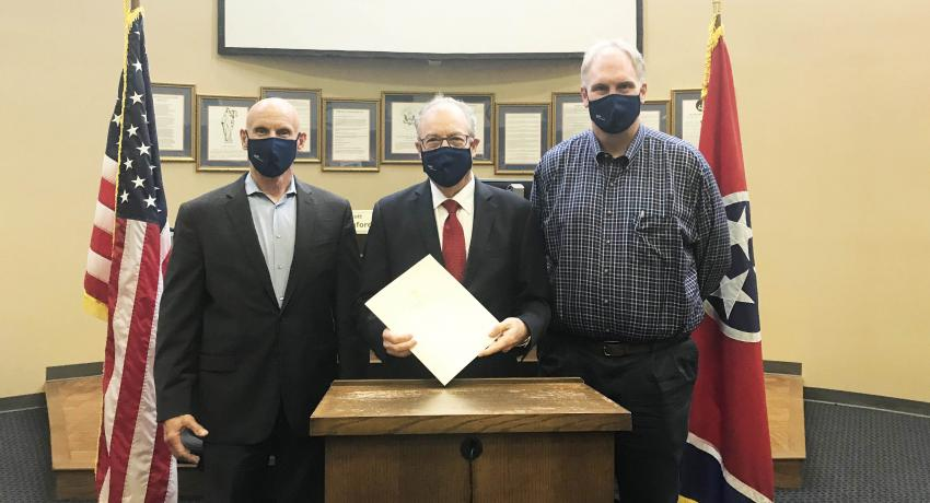 Presenting the proclamation (left to right): County Executive Anthony Holt; Jerry Faulkner, Vol State President; and Scott Langford, Chairman of Sumner County Commission.