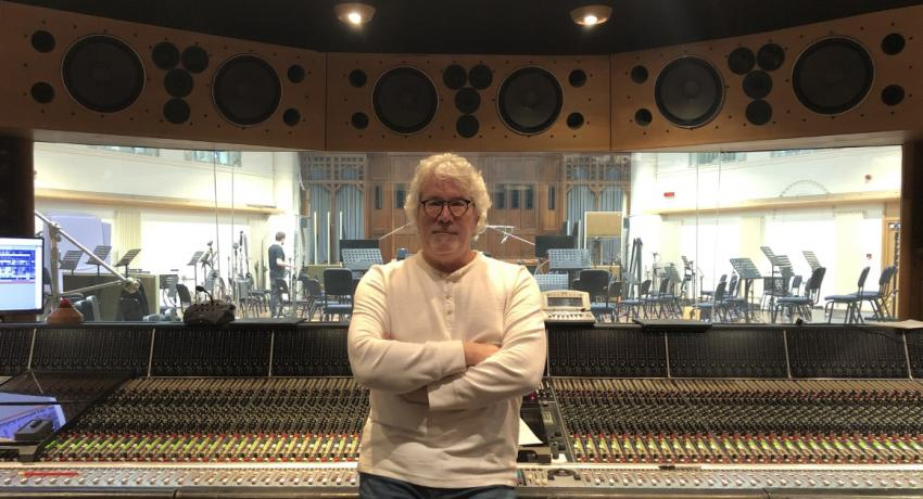Pictured: Vol State faculty member Steve Bishir in the control room at Air Studios in London, England.