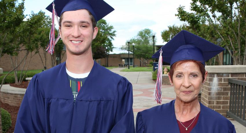 Adult Ed graduates at Vol State Harrison Hackett of Hendersonville and Shelia Cox of Gallatin.