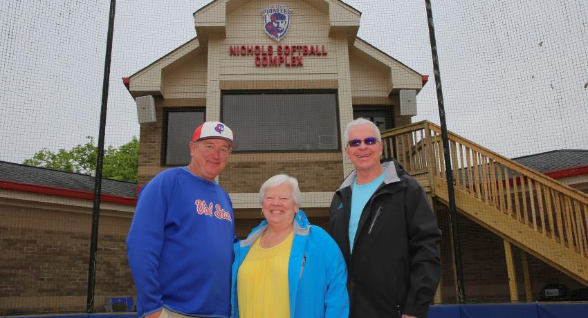 Vol State Softball coach Johnny Lynn with Chris and Warren Nichols at the Nichols Softball Complex on the Gallatin campus.