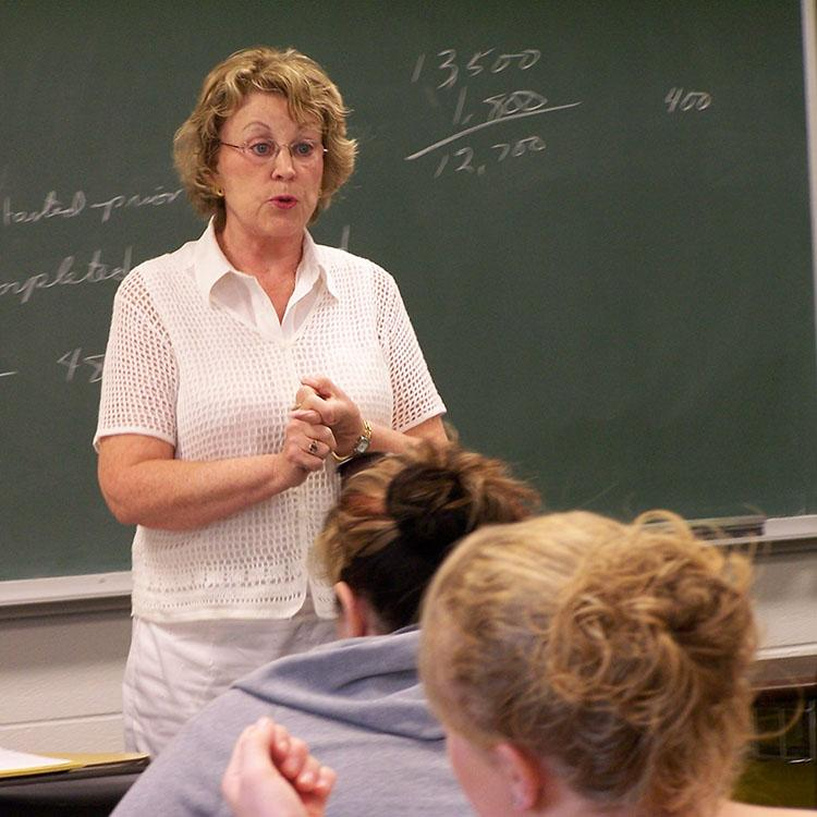 teacher talking to a class